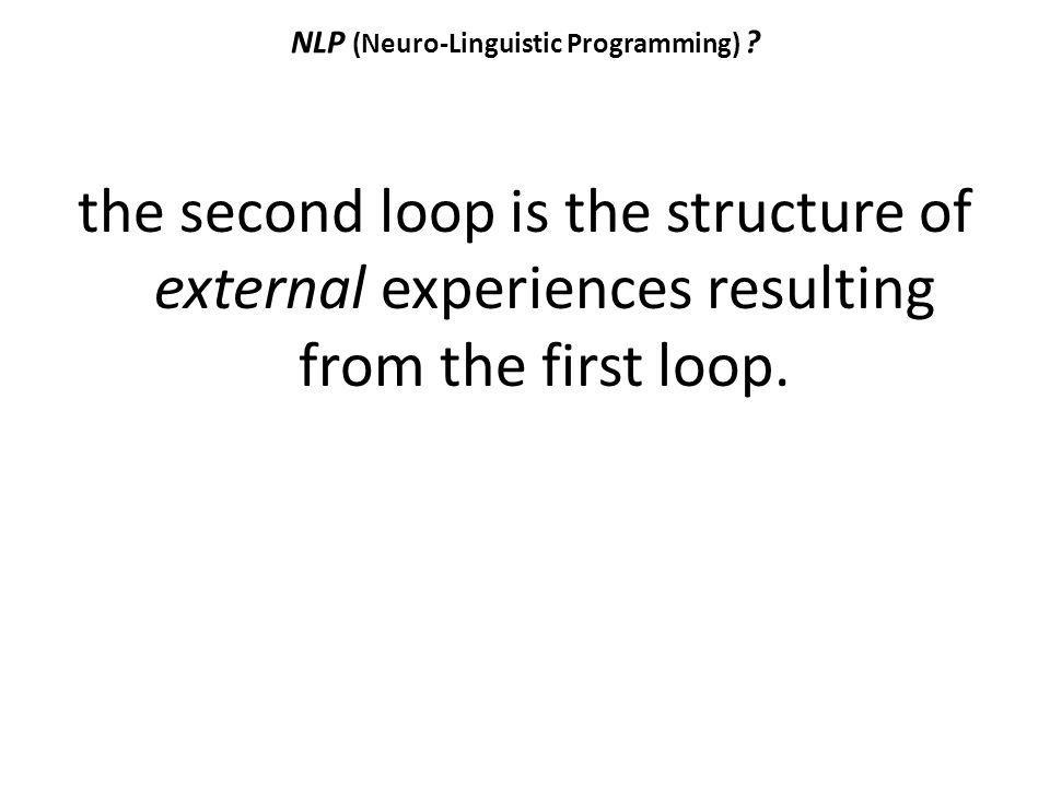 NLP (Neuro-Linguistic Programming) ? the second loop is the structure of external experiences resulting from the first loop.