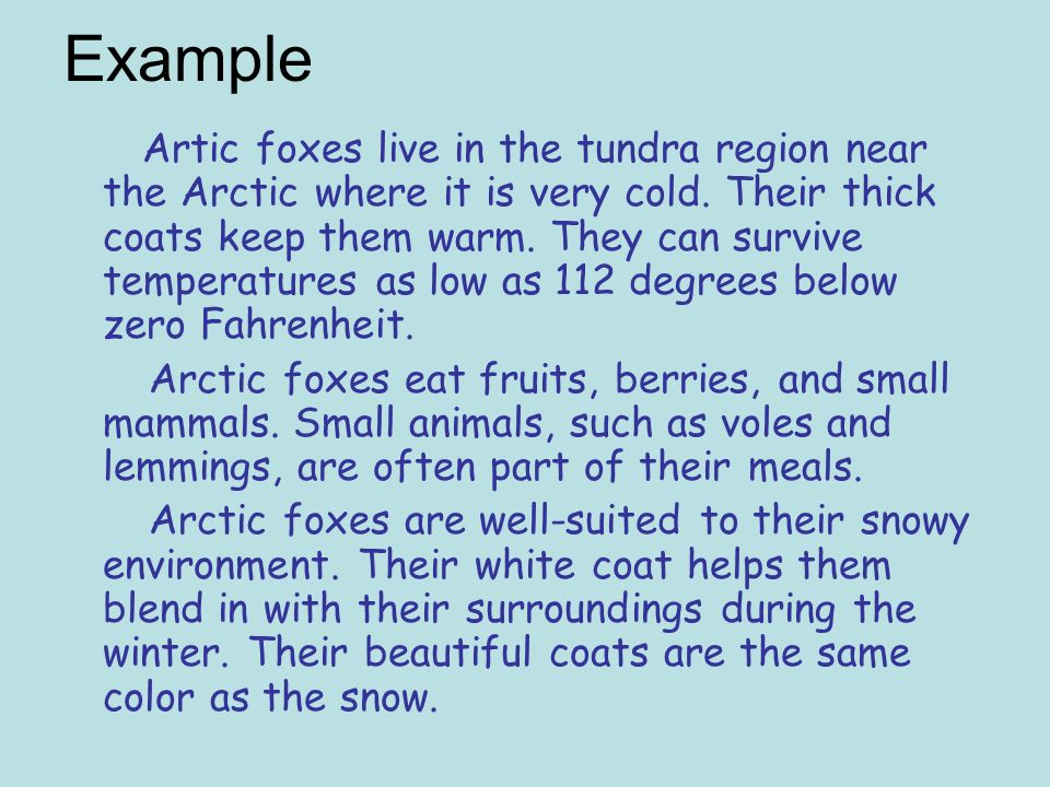 Example Artic foxes live in the tundra region near the Arctic where it is very cold.