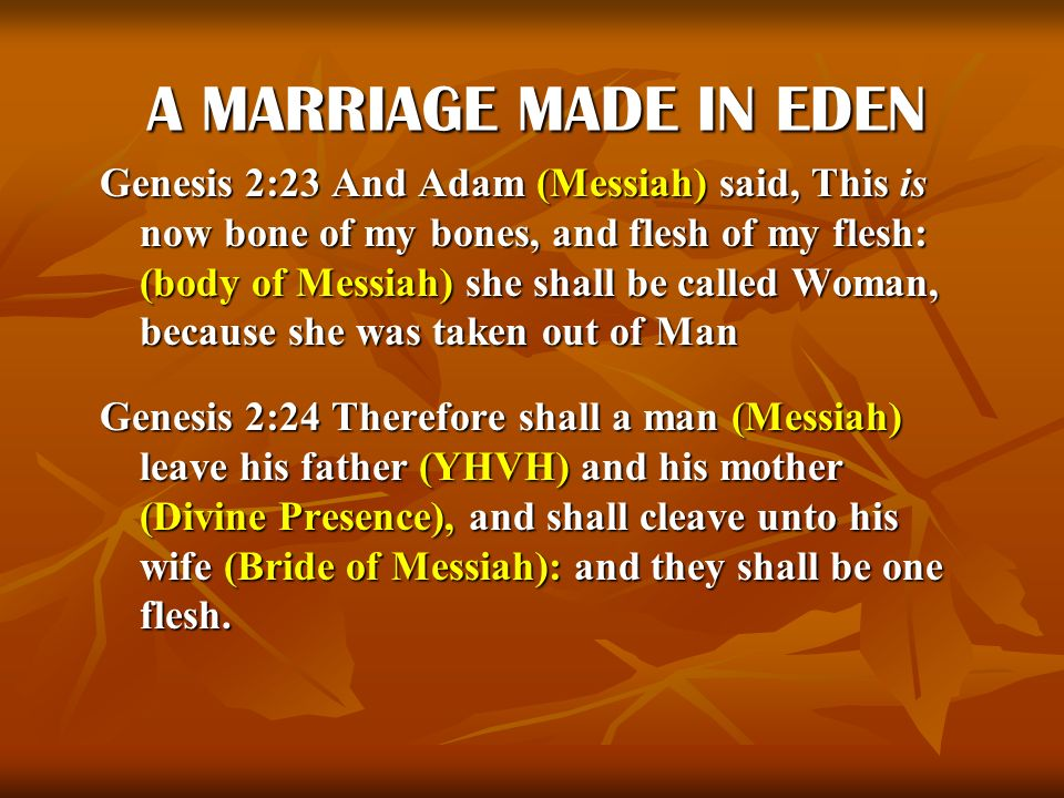 A MARRIAGE MADE IN EDEN Genesis 2:23 And Adam (Messiah) said, This is now bone of my bones, and flesh of my flesh: (body of Messiah) she shall be call