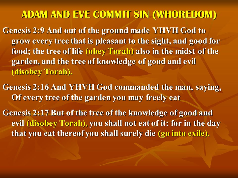 ADAM AND EVE COMMIT SIN (WHOREDOM) Genesis 2:9 And out of the ground made YHVH God to grow every tree that is pleasant to the sight, and good for food