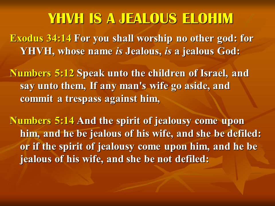 YHVH IS A JEALOUS ELOHIM Exodus 34:14 For you shall worship no other god: for YHVH, whose name is Jealous, is a jealous God: Numbers 5:12 Speak unto t