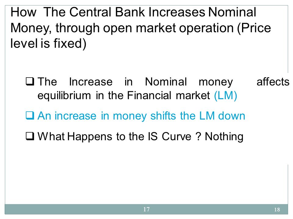 18 17 How The Central Bank Increases Nominal Money, through open market operation (Price level is fixed) The Increase in Nominal money affects equilib