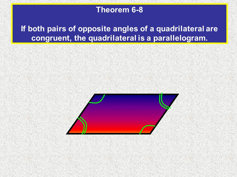 Theorem 6-8 If both pairs of opposite angles of a quadrilateral are congruent, the quadrilateral is a parallelogram.