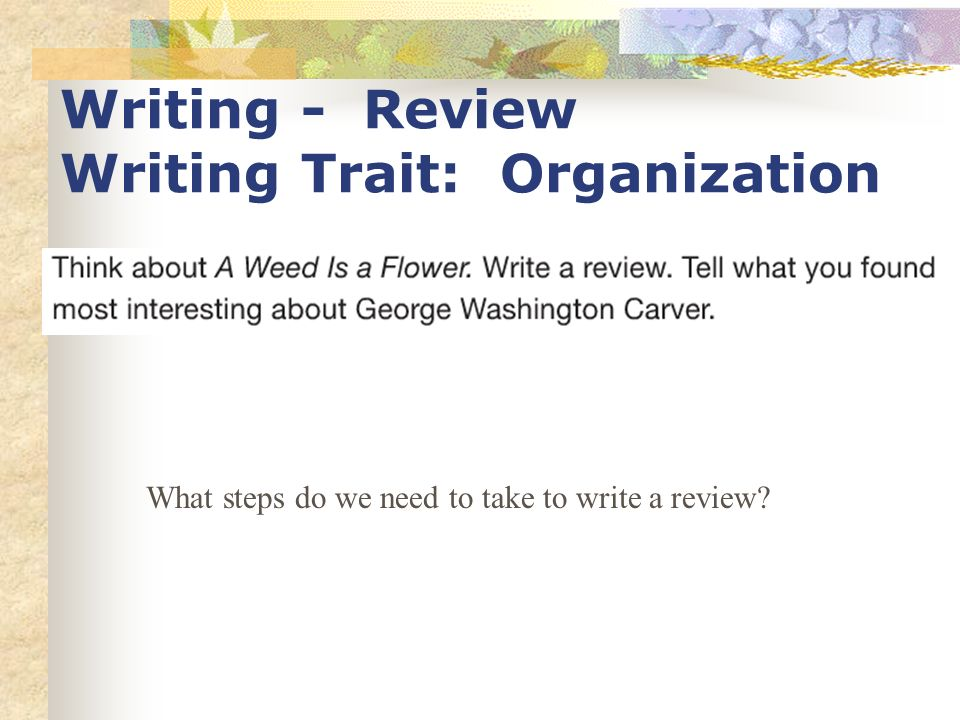 Writing - Review Writing Trait: Organization What steps do we need to take to write a review?