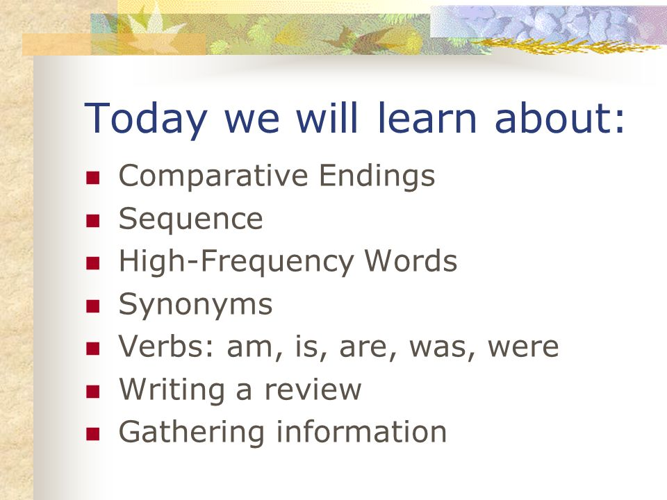 Today we will learn about: Comparative Endings Sequence High-Frequency Words Synonyms Verbs: am, is, are, was, were Writing a review Gathering information