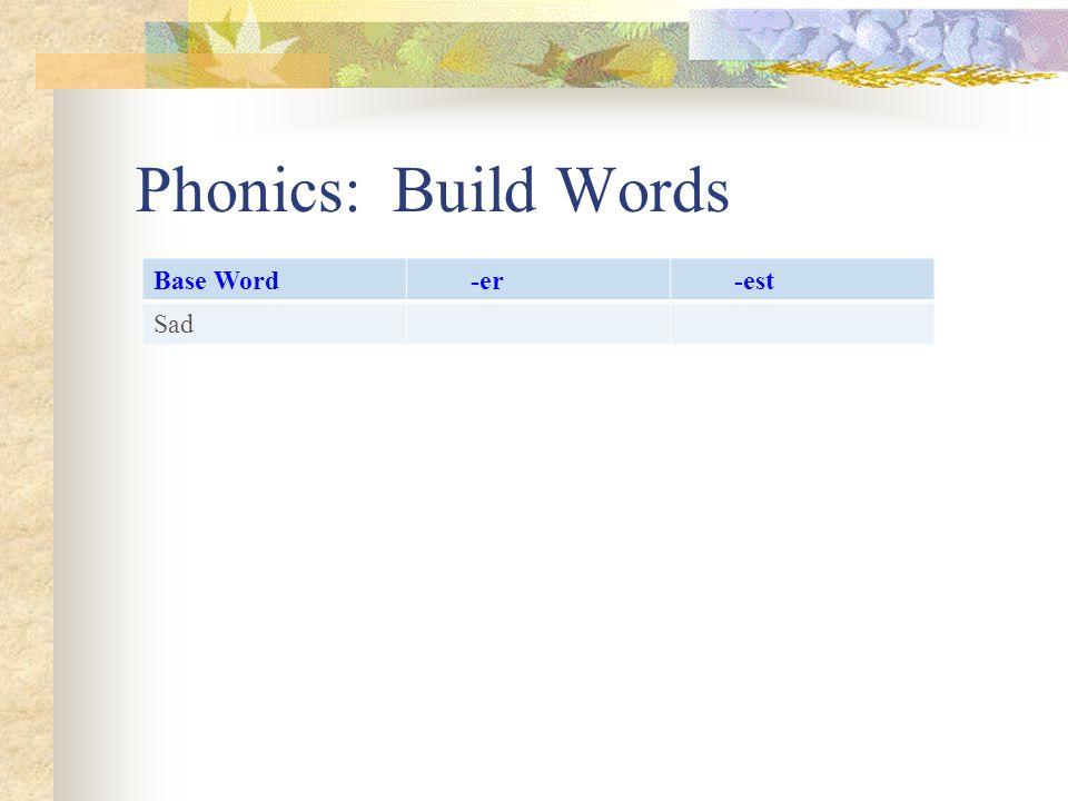 Phonics: Build Words Base Word -er -est Sad