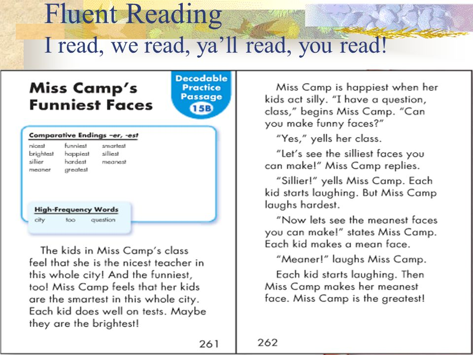 Fluent Reading I read, we read, yall read, you read!