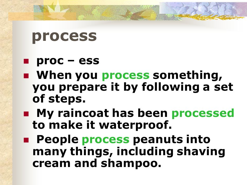 process proc – ess When you process something, you prepare it by following a set of steps. My raincoat has been processed to make it waterproof. Peopl
