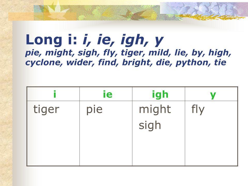 Long i: i, ie, igh, y pie, might, sigh, fly, tiger, mild, lie, by, high, cyclone, wider, find, bright, die, python, tie i ie igh y tiger pie might sig