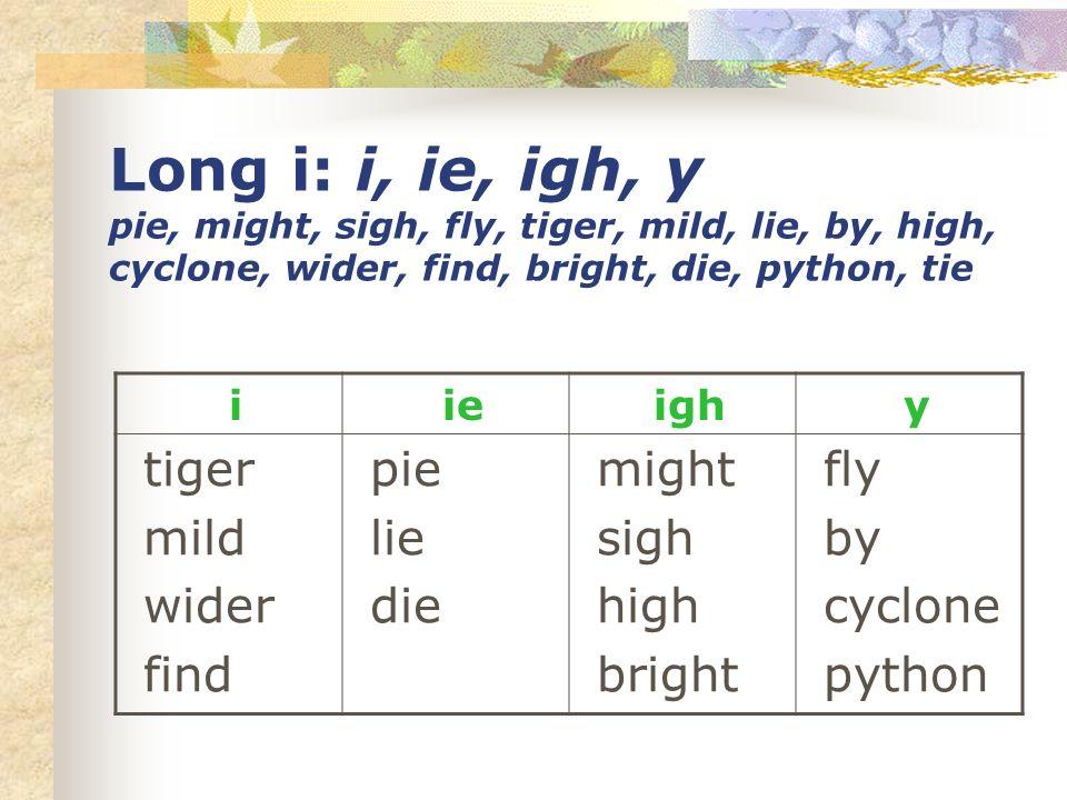 Long i: i, ie, igh, y pie, might, sigh, fly, tiger, mild, lie, by, high, cyclone, wider, find, bright, die, python, tie i ie igh y tiger mild wider fi