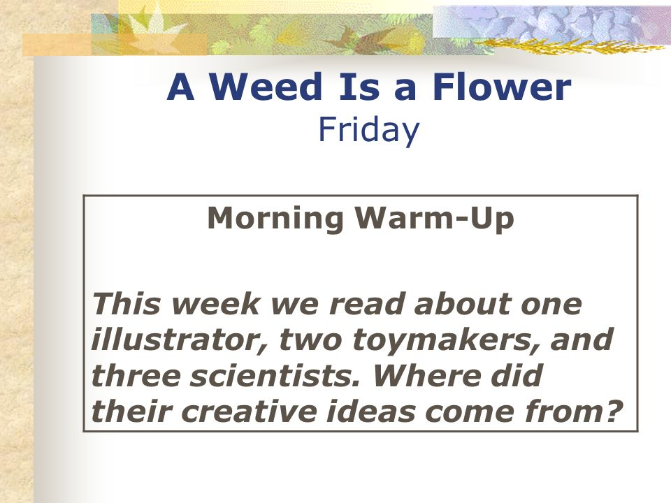 A Weed Is a Flower Friday Morning Warm-Up This week we read about one illustrator, two toymakers, and three scientists.