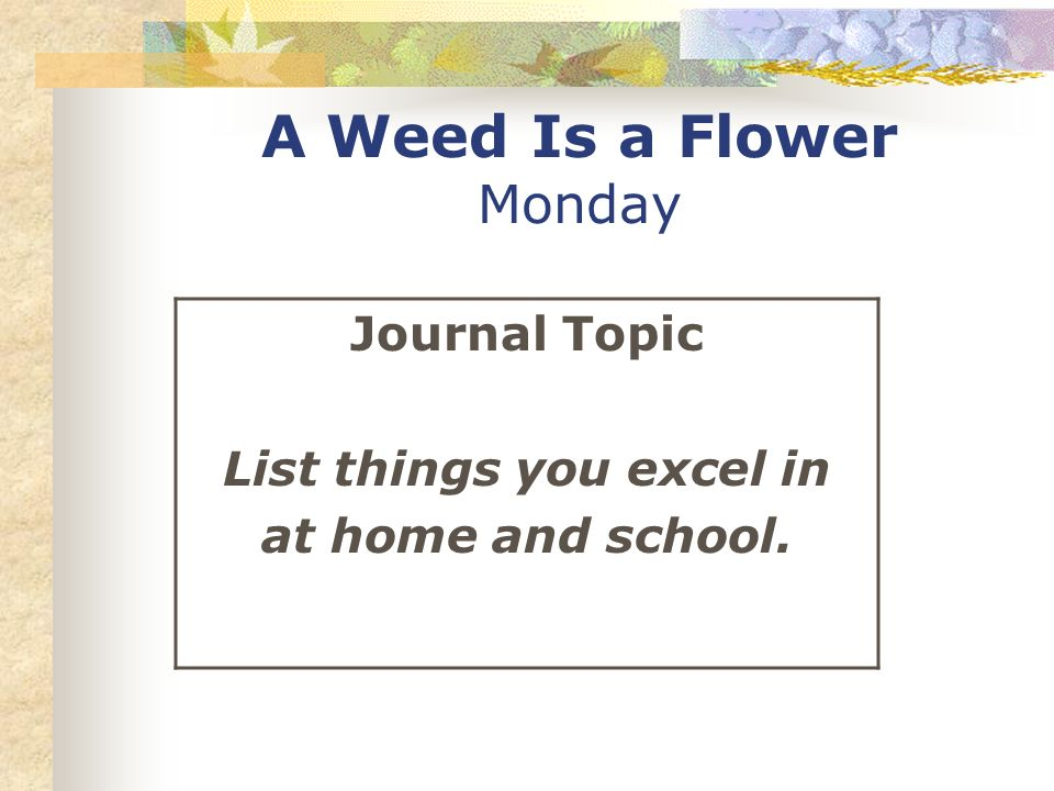 A Weed Is a Flower Monday Journal Topic List things you excel in at home and school.