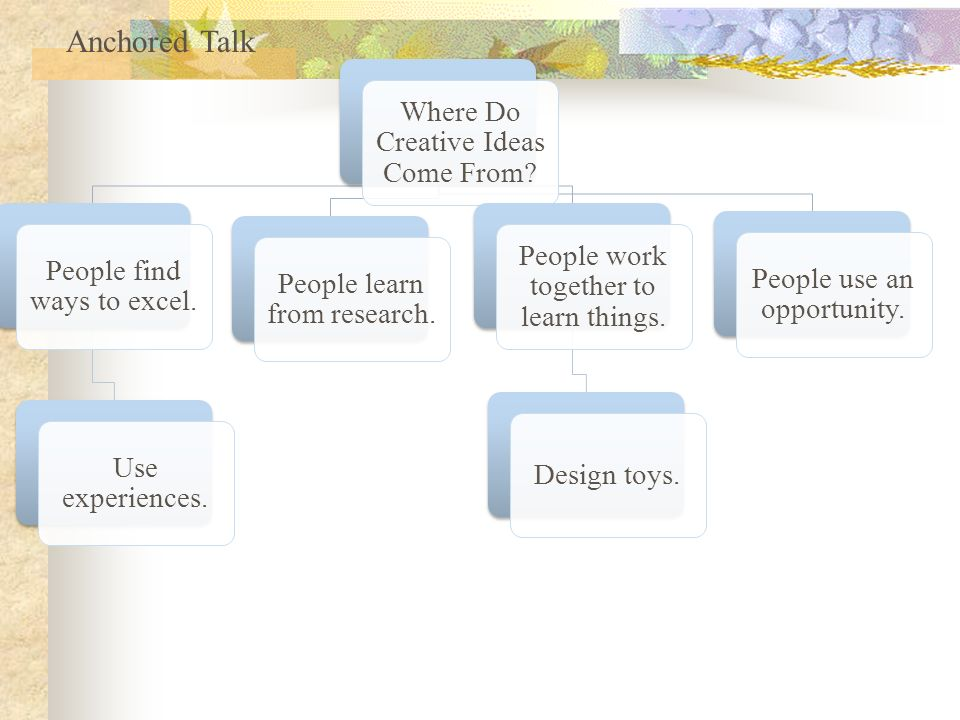 Where Do Creative Ideas Come From. People find ways to excel.