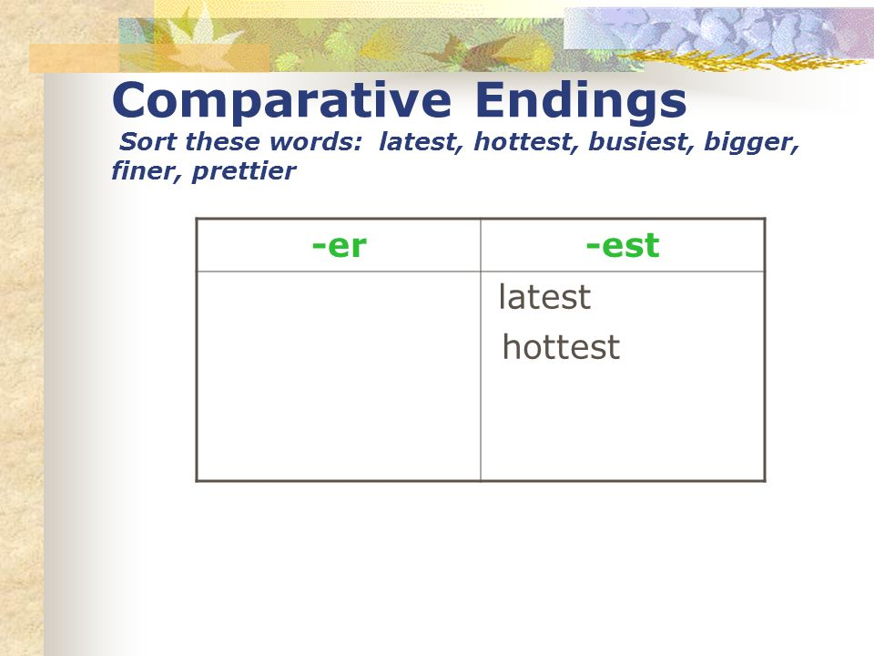 Comparative Endings Sort these words: latest, hottest, busiest, bigger, finer, prettier -er-est latest hottest