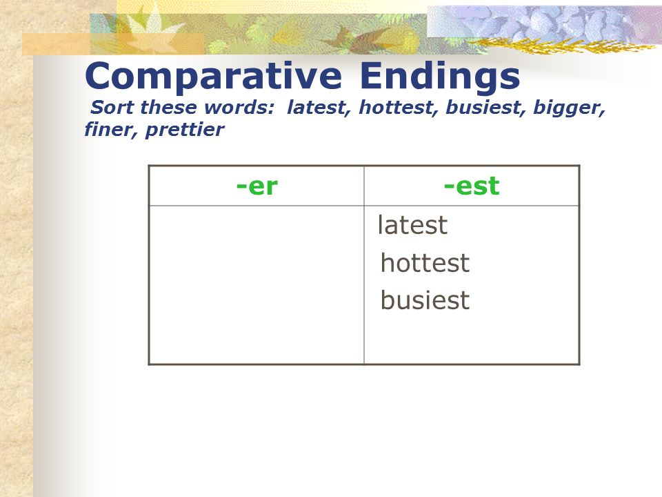 Comparative Endings Sort these words: latest, hottest, busiest, bigger, finer, prettier -er-est latest hottest busiest