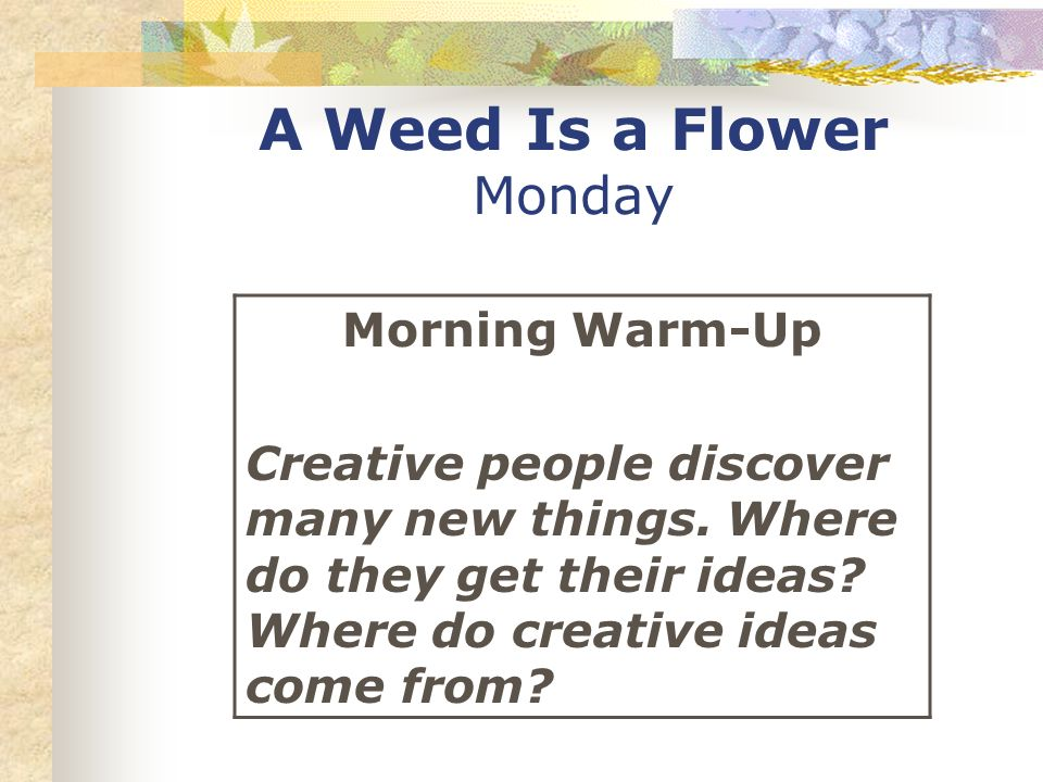 A Weed Is a Flower Monday Morning Warm-Up Creative people discover many new things. Where do they get their ideas? Where do creative ideas come from?