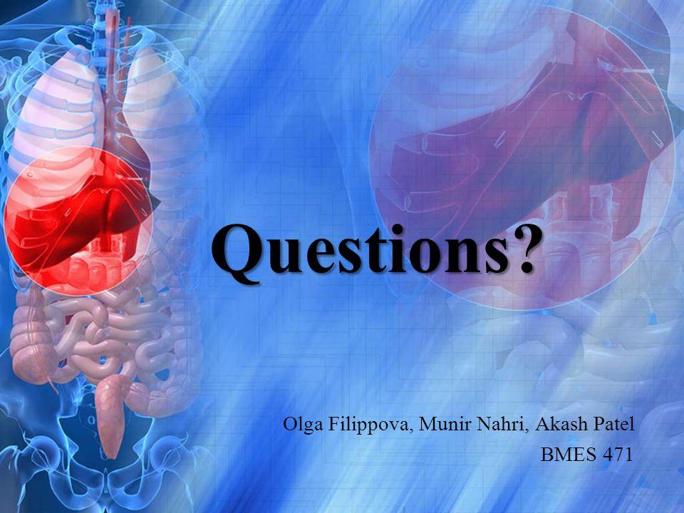 Questions? Olga Filippova, Munir Nahri, Akash Patel BMES 471