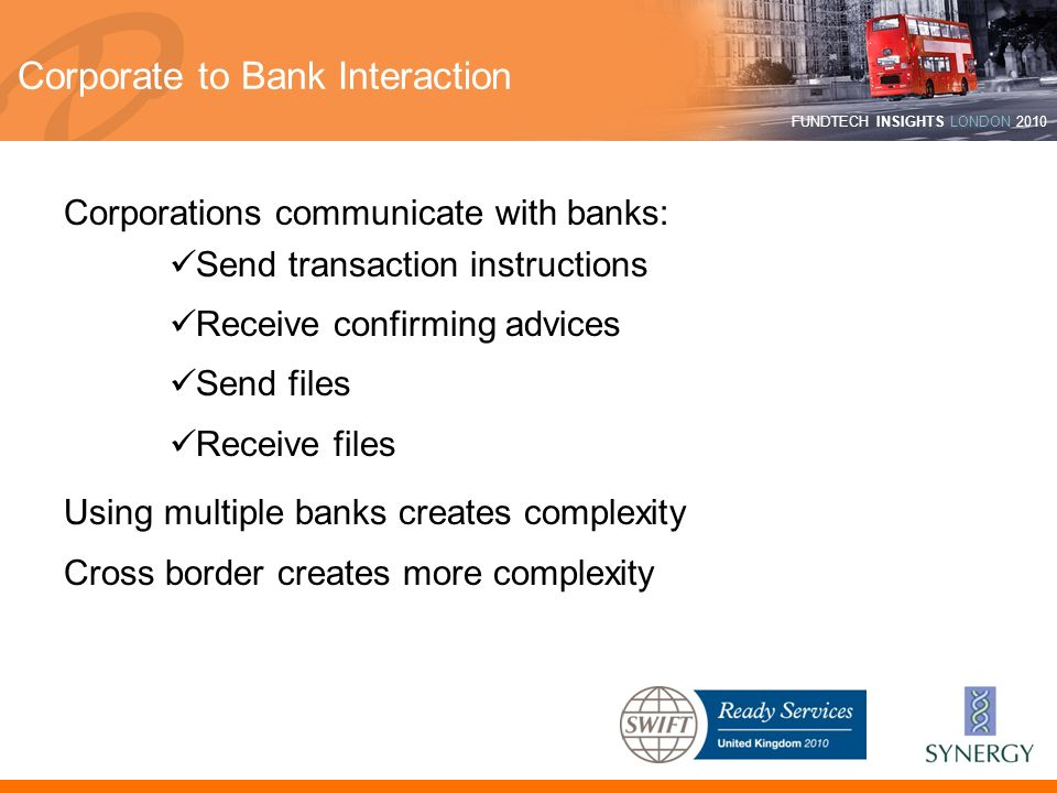 FUNDTECH INSIGHTS LONDON 2010 Corporate to Bank Interaction Corporations communicate with banks: Send transaction instructions Receive confirming advi
