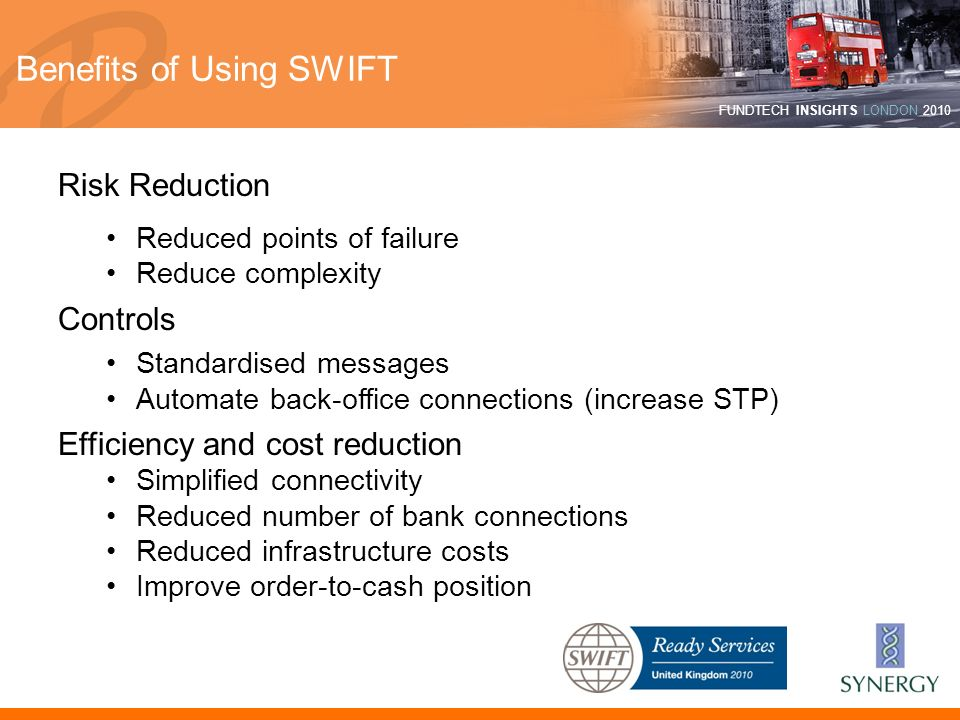 FUNDTECH INSIGHTS LONDON 2010 Benefits of Using SWIFT Risk Reduction Reduced points of failure Reduce complexity Controls Standardised messages Automa