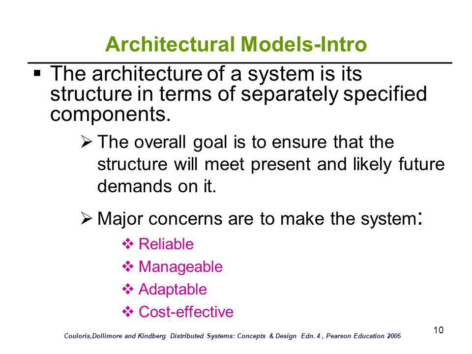 10 Architectural Models-Intro The architecture of a system is its structure in terms of separately specified components. The overall goal is to ensure