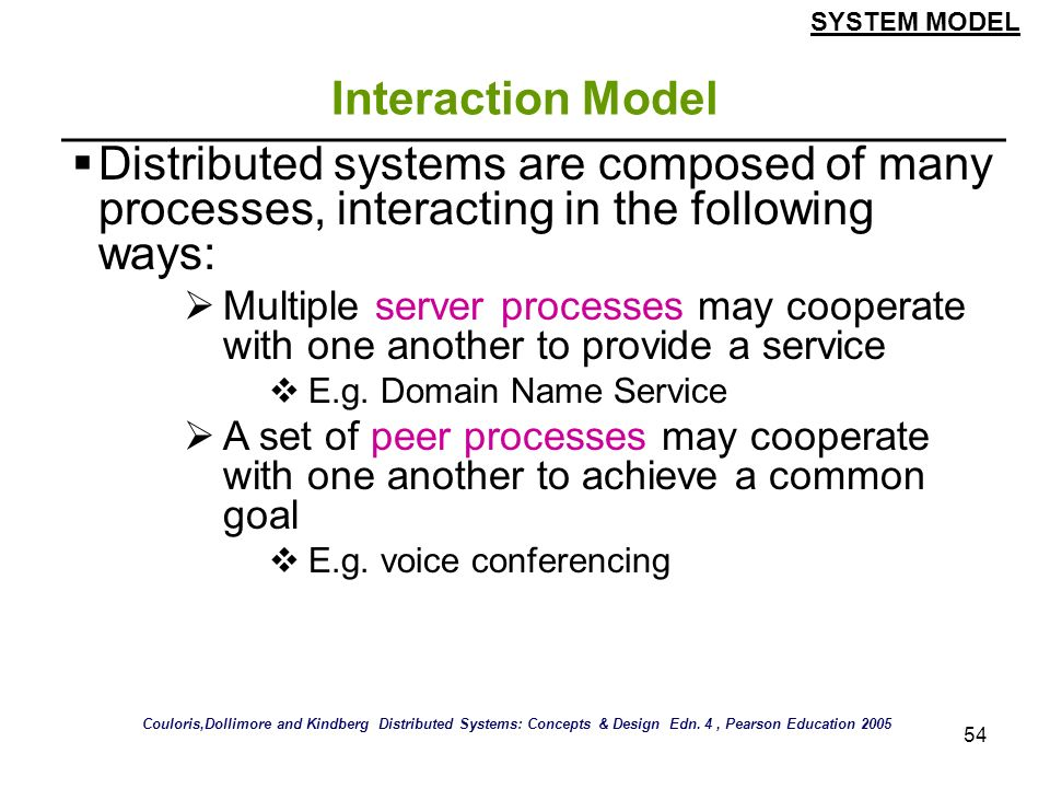 54 Interaction Model Distributed systems are composed of many processes, interacting in the following ways: Multiple server processes may cooperate wi