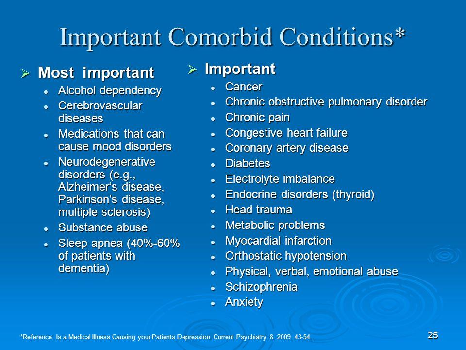 25 Important Comorbid Conditions* Most important Most important Alcohol dependency Alcohol dependency Cerebrovascular diseases Cerebrovascular disease