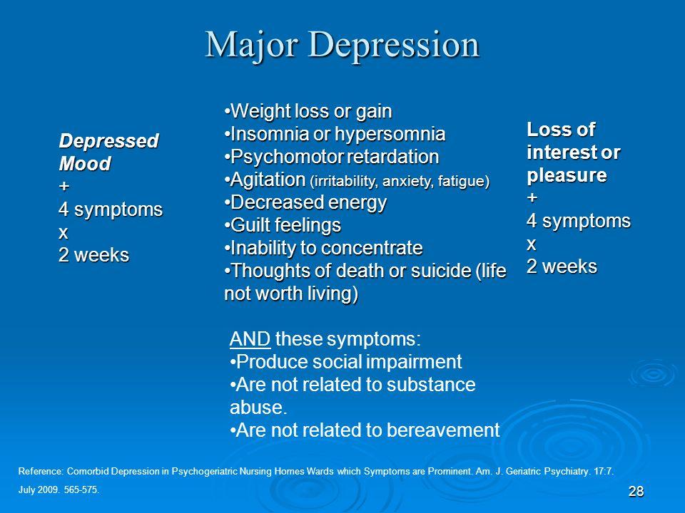 28 Major Depression DepressedMood+ 4 symptoms x 2 weeks Weight loss or gainWeight loss or gain Insomnia or hypersomniaInsomnia or hypersomnia Psychomo