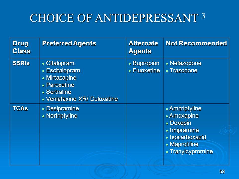 58 Drug Class Preferred Agents Alternate Agents Not Recommended SSRIs Citalopram Citalopram Escitalopram Escitalopram Mirtazapine Mirtazapine Paroxeti