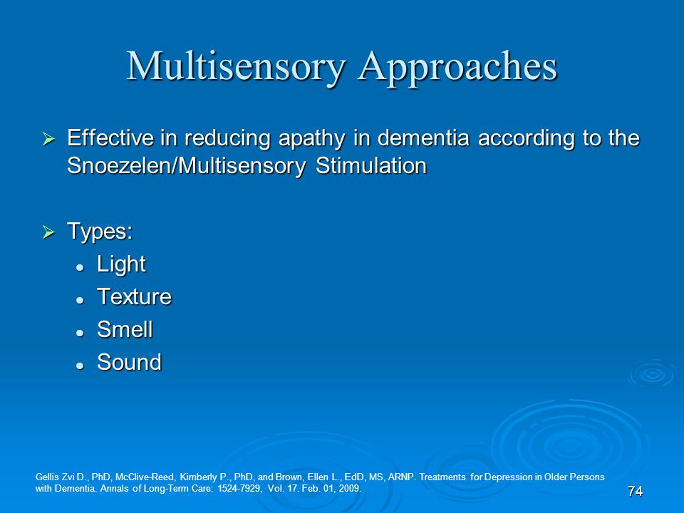 74 Multisensory Approaches Effective in reducing apathy in dementia according to the Snoezelen/Multisensory Stimulation Effective in reducing apathy i