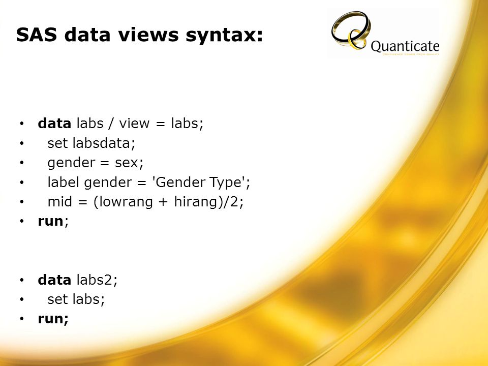 SAS data views syntax: data labs / view = labs; set labsdata; gender = sex; label gender = Gender Type ; mid = (lowrang + hirang)/2; run; data labs2; set labs; run;