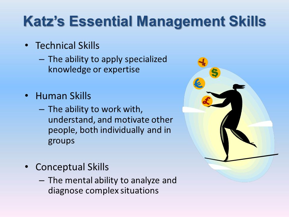 Katzs Essential Management Skills Technical Skills – The ability to apply specialized knowledge or expertise Human Skills – The ability to work with,