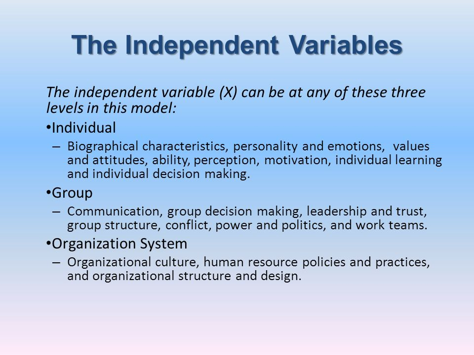 The Independent Variables The independent variable (X) can be at any of these three levels in this model: Individual – Biographical characteristics, p
