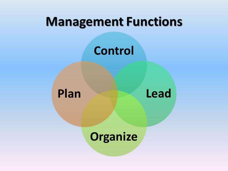 Management Functions Control Lead Organize Plan