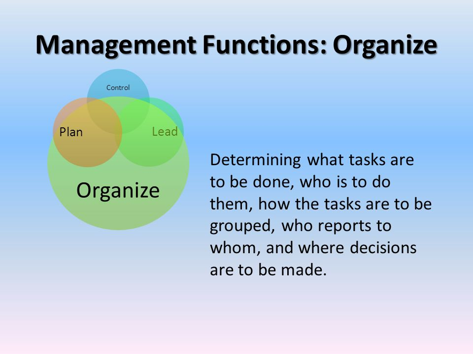 Management Functions: Organize Control Lead Organize Plan Determining what tasks are to be done, who is to do them, how the tasks are to be grouped, w
