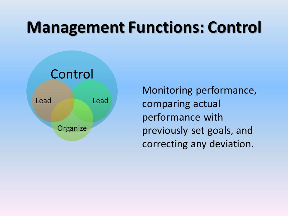Management Functions: Control Monitoring performance, comparing actual performance with previously set goals, and correcting any deviation. Control Le