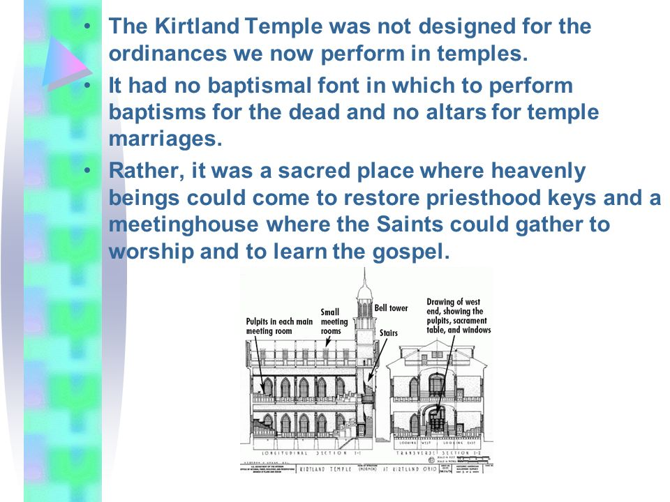 The Kirtland Temple was not designed for the ordinances we now perform in temples. It had no baptismal font in which to perform baptisms for the dead