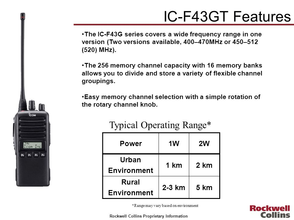 Rockwell Collins Proprietary Information The IC-F43G series covers a wide frequency range in one version (Two versions available, 400–470MHz or 450–51