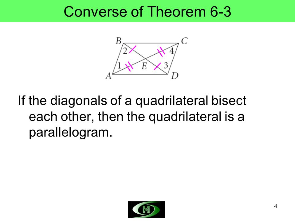 4 Converse of Theorem 6-3 If the diagonals of a quadrilateral bisect each other, then the quadrilateral is a parallelogram.