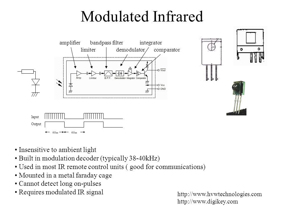 Modulated Infrared http://www.hvwtechnologies.com http://www.digikey.com Insensitive to ambient light Built in modulation decoder (typically 38-40kHz)