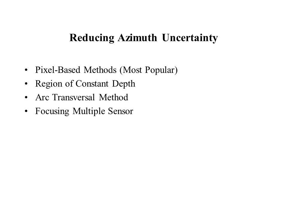 Reducing Azimuth Uncertainty Pixel-Based Methods (Most Popular) Region of Constant Depth Arc Transversal Method Focusing Multiple Sensor