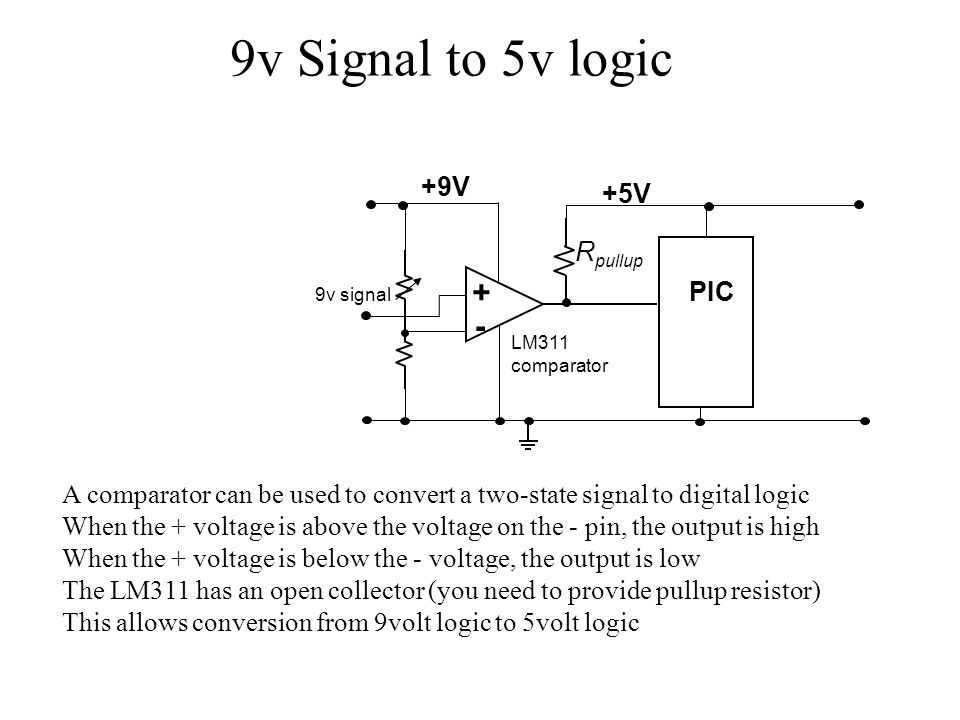 9v Signal to 5v logic + - LM311 comparator PIC +5V R pullup +9V 9v signal A comparator can be used to convert a two-state signal to digital logic When
