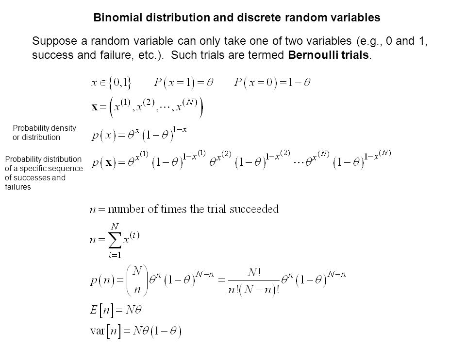 Binomial distribution and discrete random variables Suppose a random variable can only take one of two variables (e.g., 0 and 1, success and failure,