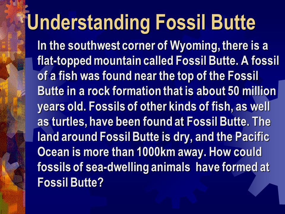 Understanding Fossil Butte In the southwest corner of Wyoming, there is a flat-topped mountain called Fossil Butte. A fossil of a fish was found near