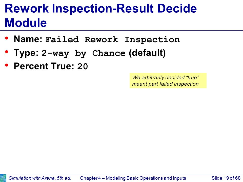 Simulation with Arena, 5th ed.Chapter 4 – Modeling Basic Operations and InputsSlide 19 of 68 Rework Inspection-Result Decide Module Name: Failed Rewor