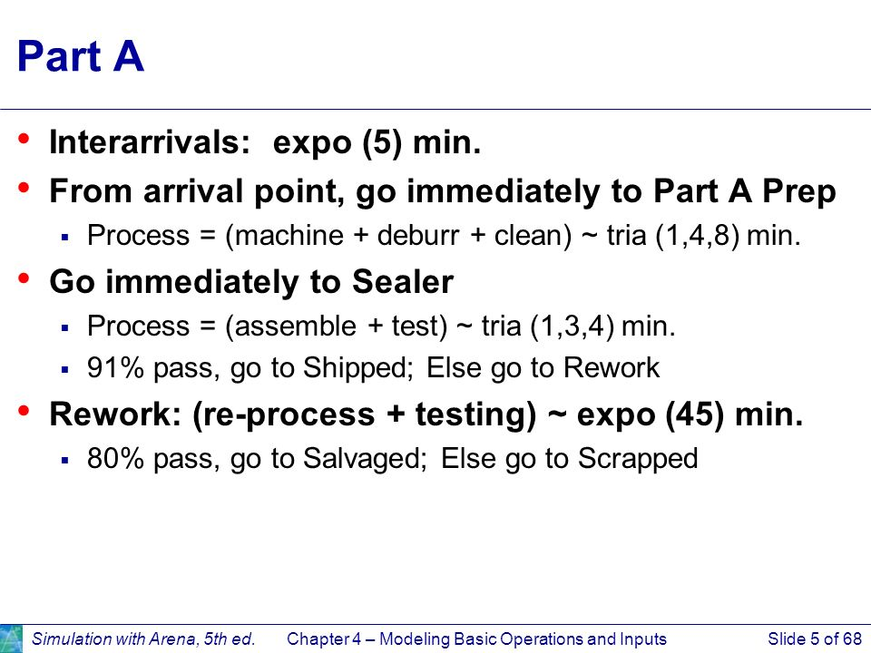 Simulation with Arena, 5th ed.Chapter 4 – Modeling Basic Operations and InputsSlide 5 of 68 Part A Interarrivals: expo (5) min. From arrival point, go