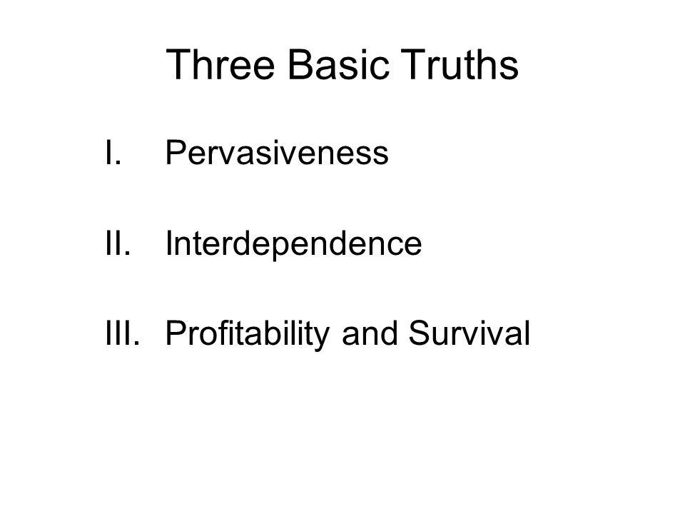 Three Basic Truths I.Pervasiveness II.Interdependence III.Profitability and Survival