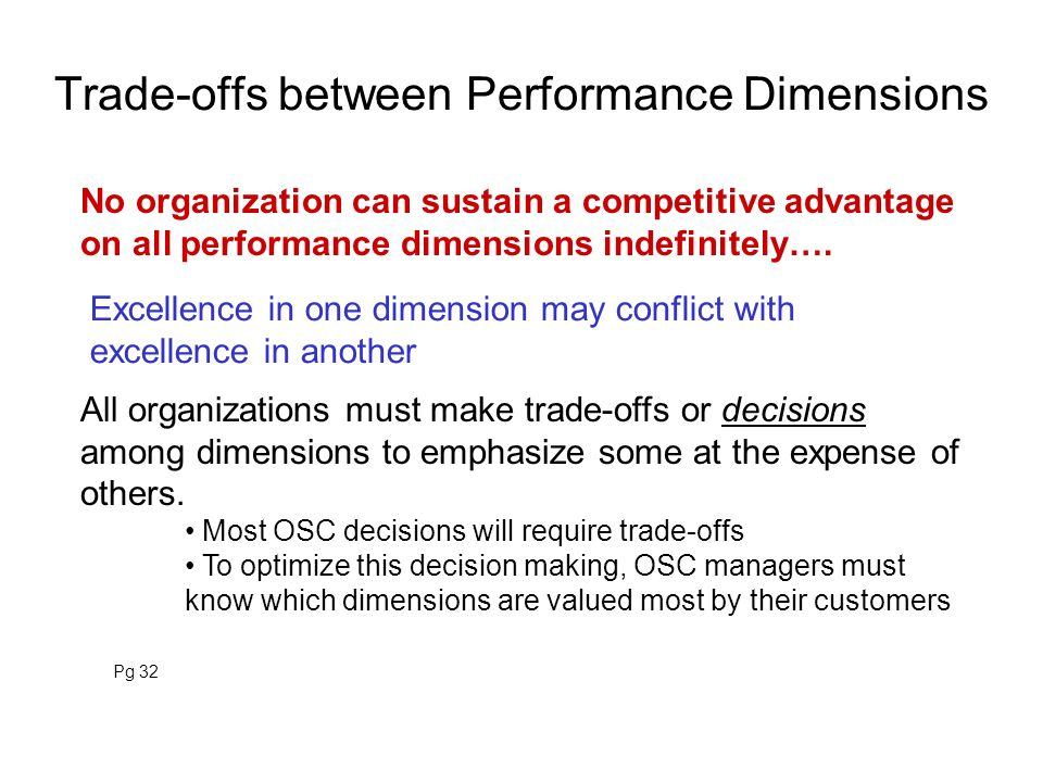Trade-offs between Performance Dimensions No organization can sustain a competitive advantage on all performance dimensions indefinitely…. All organiz