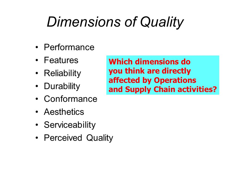 Dimensions of Quality Performance Features Reliability Durability Conformance Aesthetics Serviceability Perceived Quality Which dimensions do you thin