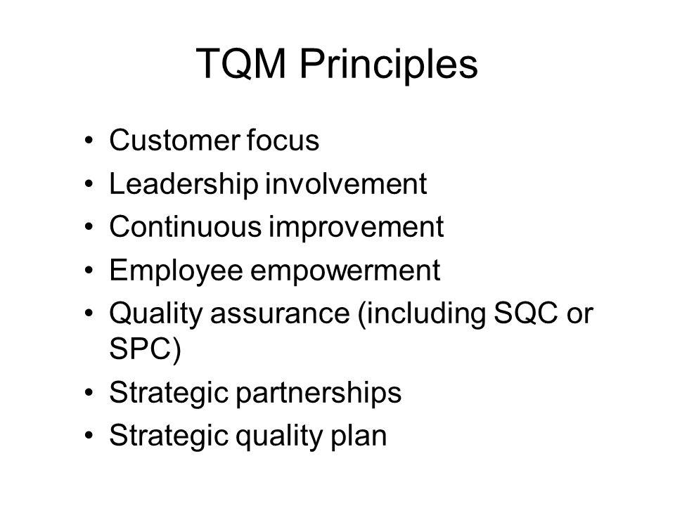 TQM Principles Customer focus Leadership involvement Continuous improvement Employee empowerment Quality assurance (including SQC or SPC) Strategic pa