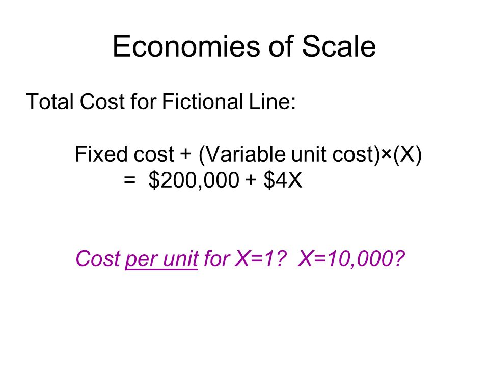 Economies of Scale Total Cost for Fictional Line: Fixed cost + (Variable unit cost)×(X) = $200,000 + $4X Cost per unit for X=1? X=10,000?